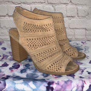 Report Tan Open Toe Laser Cut High Heel Shoes